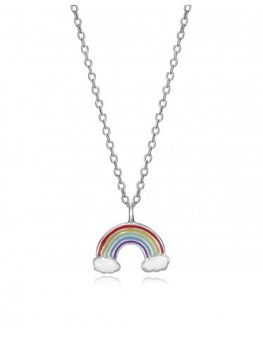 Collar Viceroy niña de plata con un colgante del arco iris