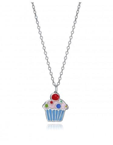 Collar Viceroy niña de plata con colgante de un cupcake