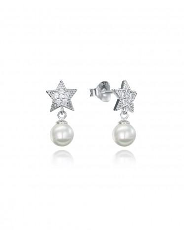 Pendientes Viceroy mujer de plata forma estrella con perla colgando