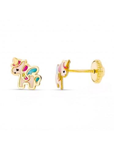 Pendientes bebé oro con motivo unicornio esmaltado
