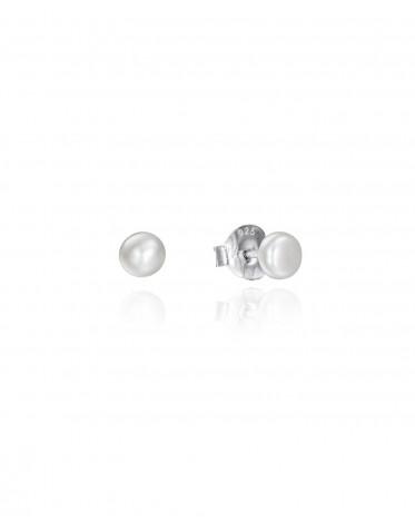 Pendientes Viceroy mujer de plata con perla natural de 5 mm.