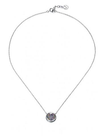 Collar Viceroy mujer plata con colgante circonitas multicolor formando corazón