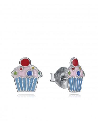 Pendientes Viceroy niña de plata con motivo de un cupcake