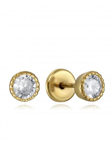 Pendientes Viceroy niña de plata chapada oro con circonitas