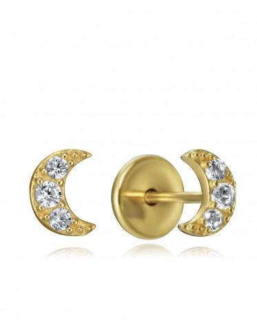 Pendientes Viceroy bebé de plata chapada oro de lunas con circonitas