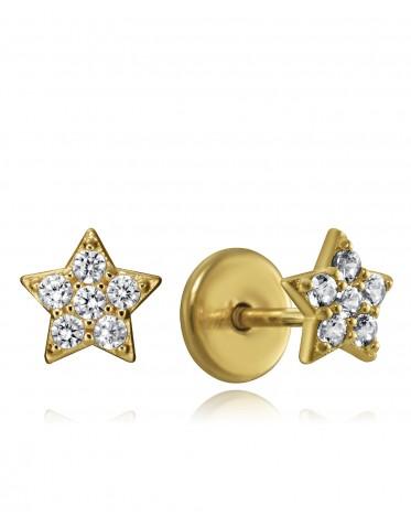 Pendientes Viceroy bebé plata chapada oro de estrellas con circonitas